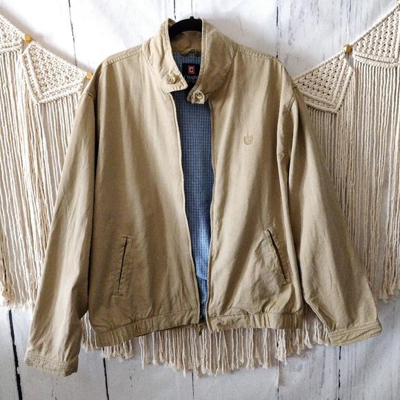 Chaps Other - Chaps Camel Tan Zip Up Bomber Jacket Coat L